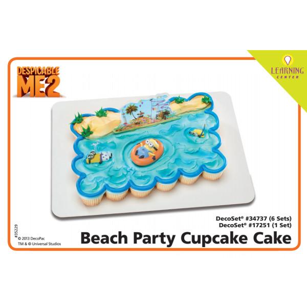 Minions Beach Party Cupcake Cake Cake Decorating Instruction Card