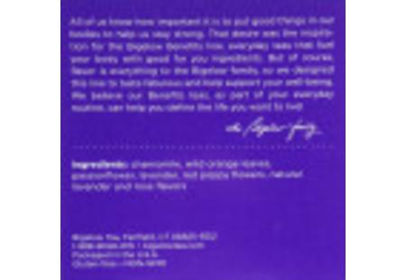 Keurig Bigelow Beneifts Chamomile and Lavender Herbal Tea  K-Cups box of 10 -ingredient listing