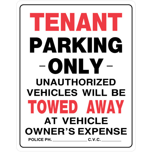 Tenant Parking Only Sign (19