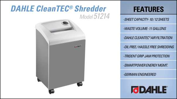 DAHLE CleanTEC® 51214 Small Office Shredder InfoGraphic
