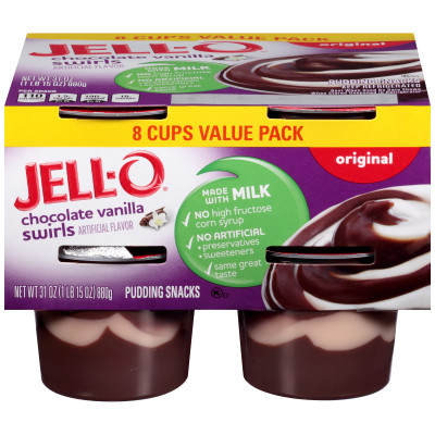 Jell-O Ready to Eat Chocolate Vanilla Swirl Pudding Snack 31 oz Sleeve (8 Cups)