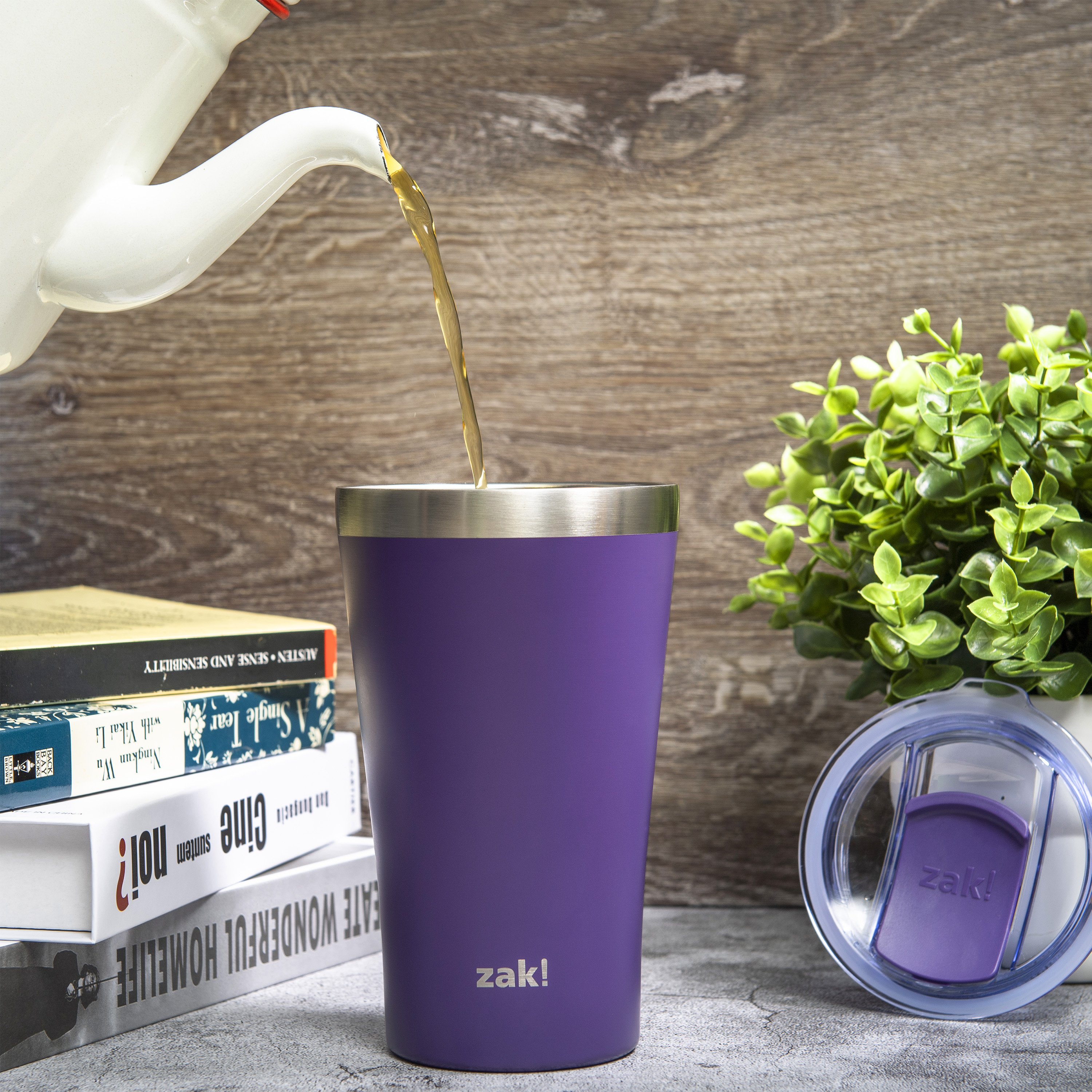 Zak Hydration 20 ounce Reusable Vacuum Insulated Stainless Steel Tumbler with Straw, Viola slideshow image 3