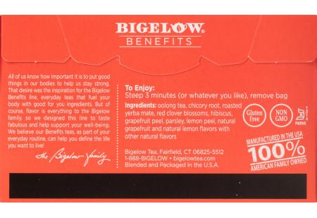 Back of Bigelow Benefits Citrus and Oolong Tea box