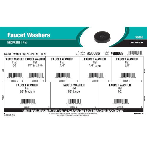 Neoprene Flat Faucet Washers Assortment
