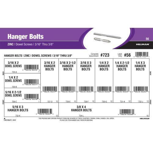 Zinc Hanger Bolts & Dowel Screws Assortment (3/16