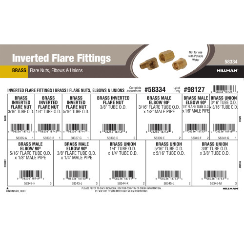 Brass Inverted Flare Fittings Assortment (Flare Nuts, Elbows & Unions)