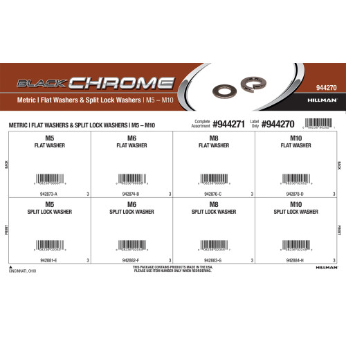 Black Chrome Metric Flat & Split Lock Washers Assortment (M5 thru M10)