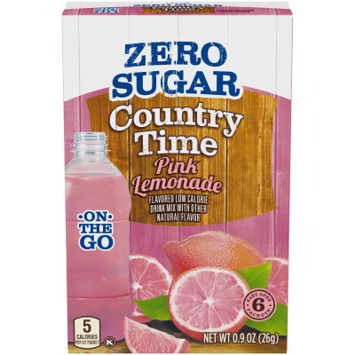 Country Time On-The-Go Sugar-Free Pink Lemonade Powdered Soft Drink 6 - 0.9 oz Packets