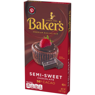 Baker's Premium Semi-Sweet Chocolate Baking Bar, 4 oz Box
