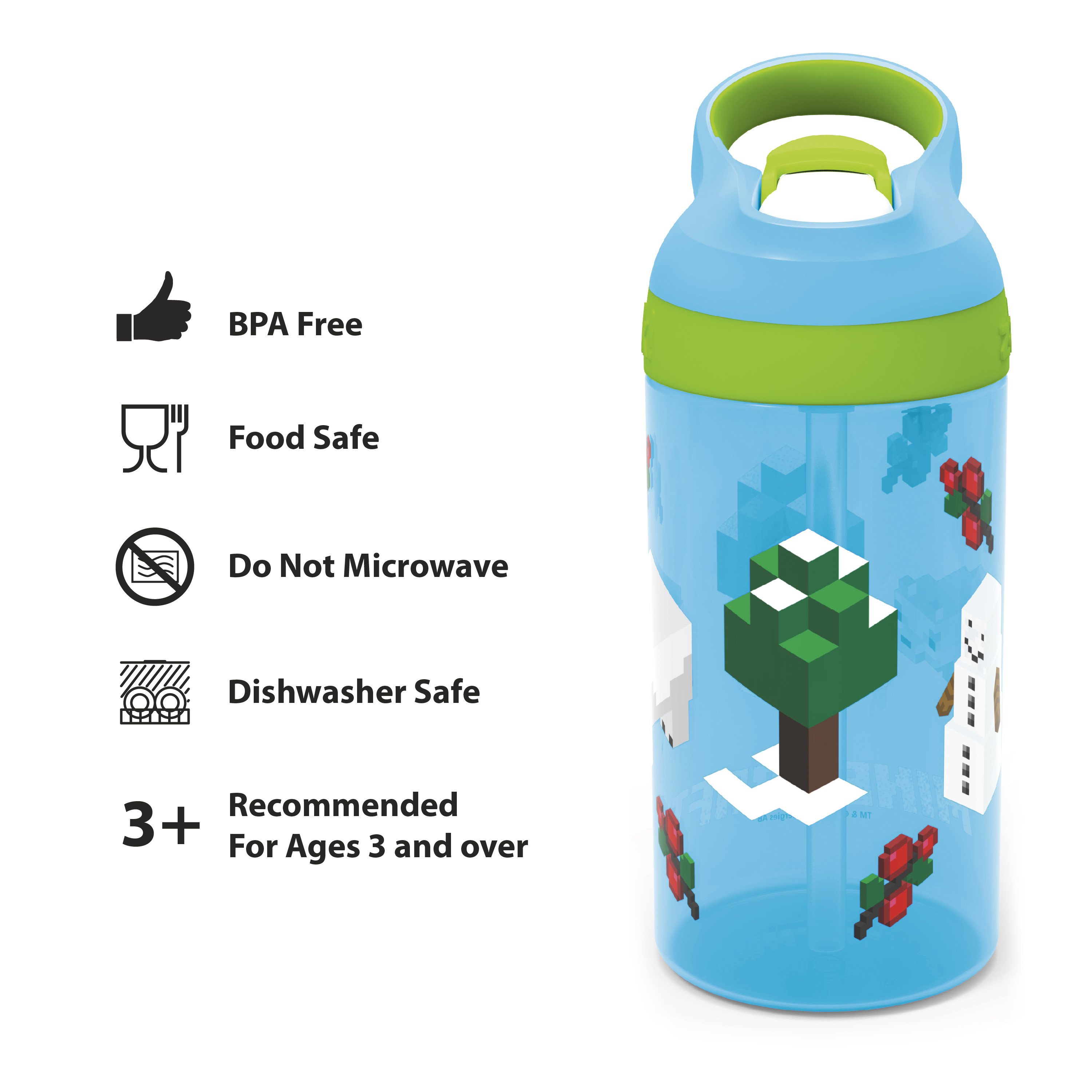 Minecraft 16 ounce Water Bottle, Assorted Minecraft Characters slideshow image 2