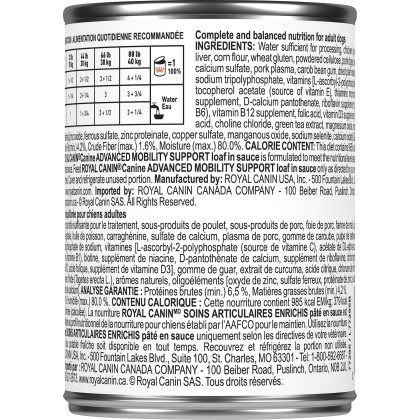 Royal Canin Veterinary Diet Canine Advanced Mobility Support Loaf in Sauce Canned Dog Food