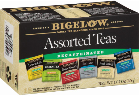 Six Assorted Decaf Teas - Case of 6 boxes - total of 108 teabags