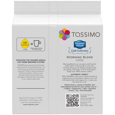 Maxwell House Cafe Collection Morning Blend Ground Coffee T-Disc for Tassimo Brewing System, 14 count