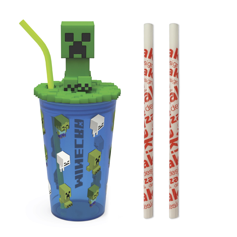 Minecraft 15 ounce Kids Tumbler, Creeper, 3-piece set slideshow image 1