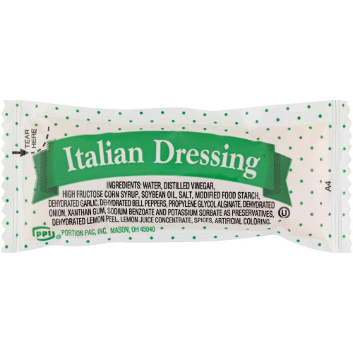 PPI Single Serve Italian Dressing, 12 gr. Pouches (Pack of 200)