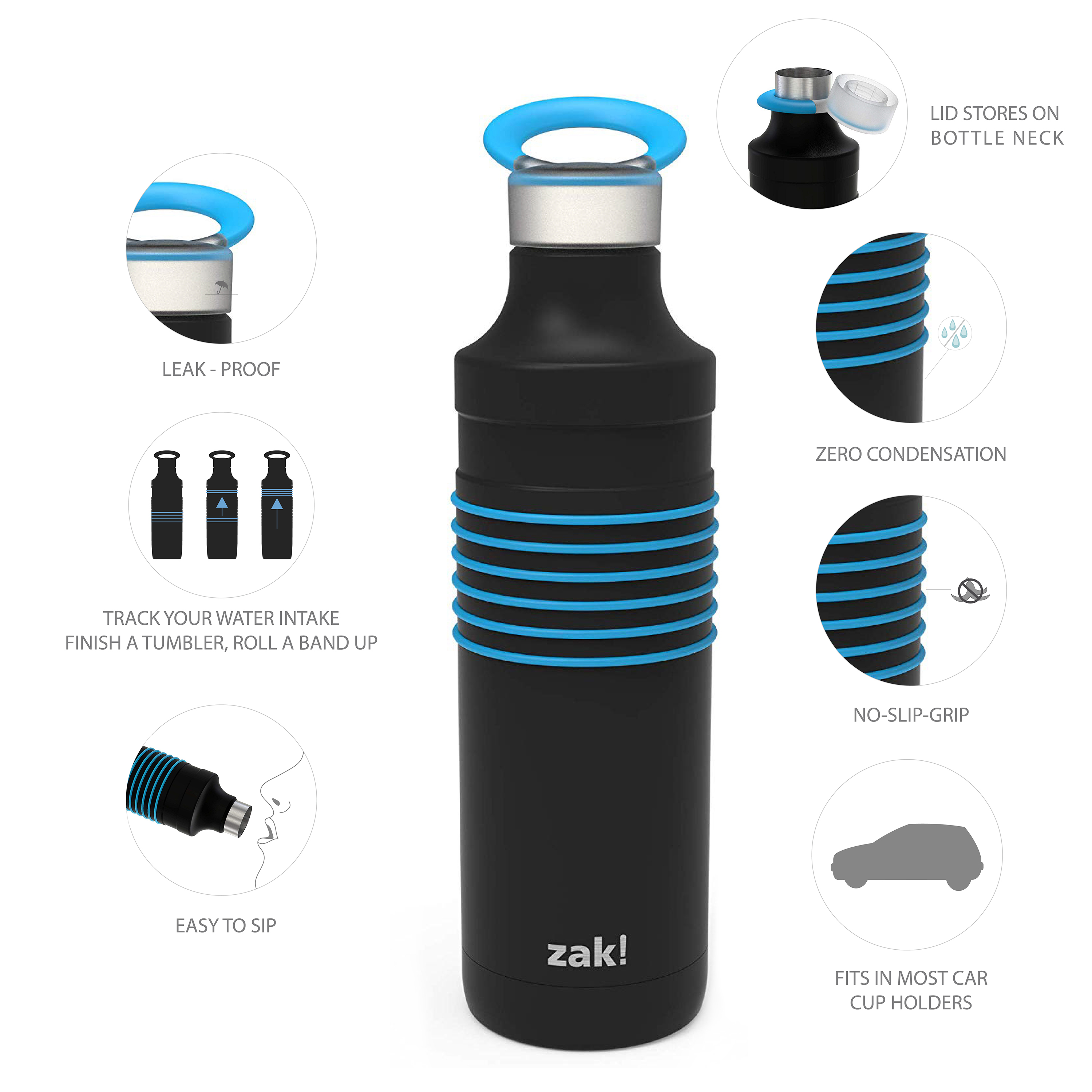 HydraTrak 22 ounce Vacuum Insulated Stainless Steel Tumbler, Black with Blue Rings slideshow image 6