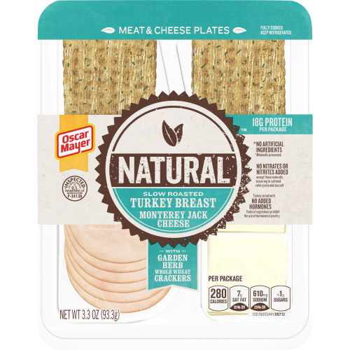 Oscar Mayer Natural Slow Roasted Turkey Breast & Monterey Jack Meat & Cheese Plates Tray, 3.3 oz