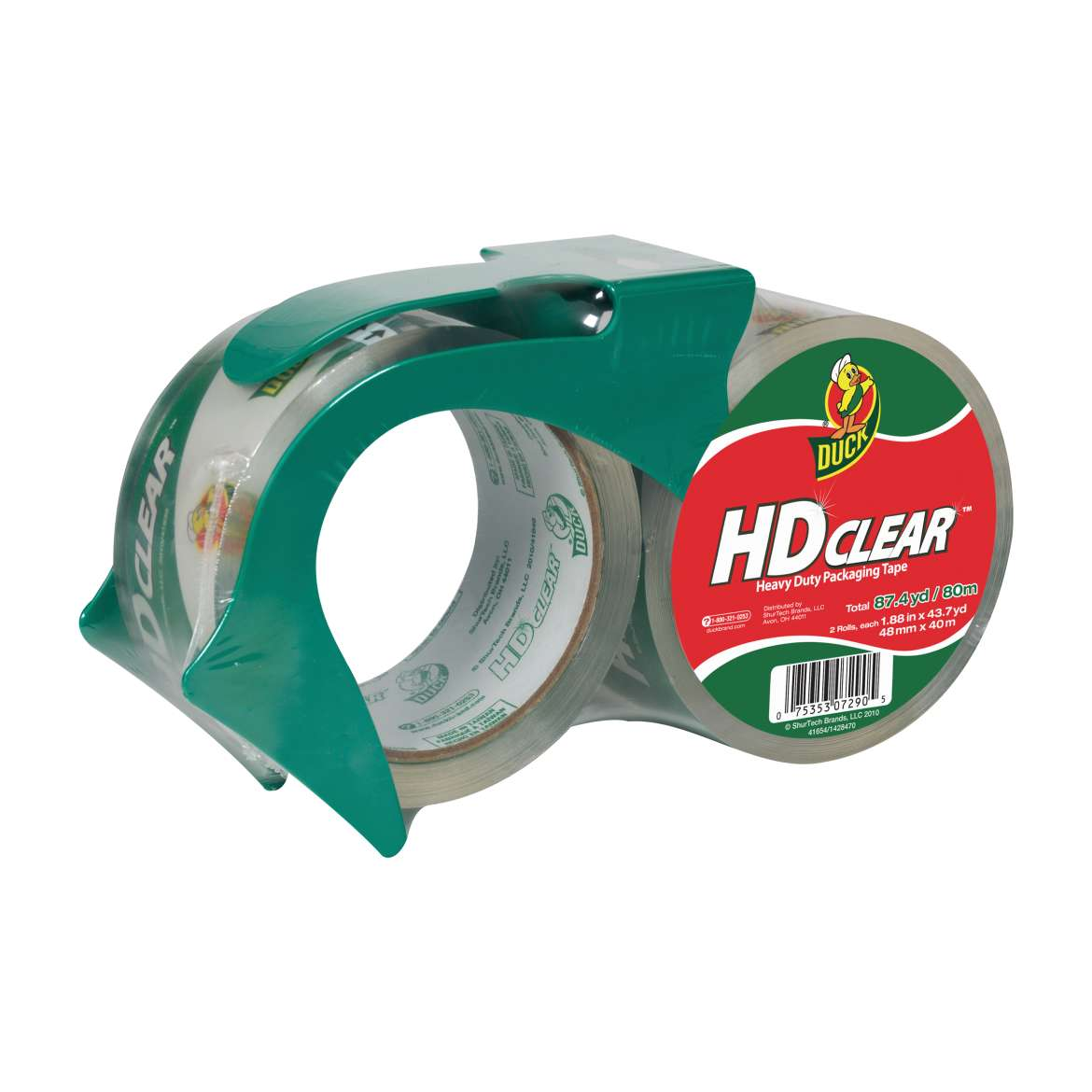 HD Clear™ Heavy Duty Packaging Tape with Dispenser - Clear, 2 pk, 1.88 in. x 43 yd. Image