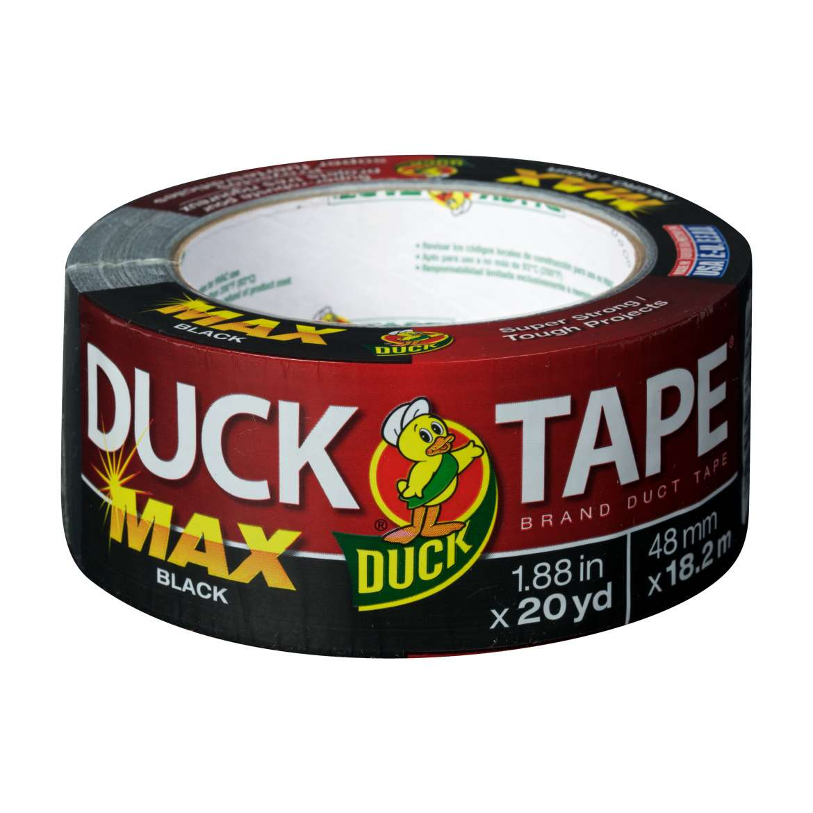 MAX Strength Duck Tape® Brand Duct Tape - Black, 1.88 in. x 20 yd. Image