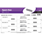 "Zinc Long Square Keys Assortment (1/8"" thru 1/4"")"