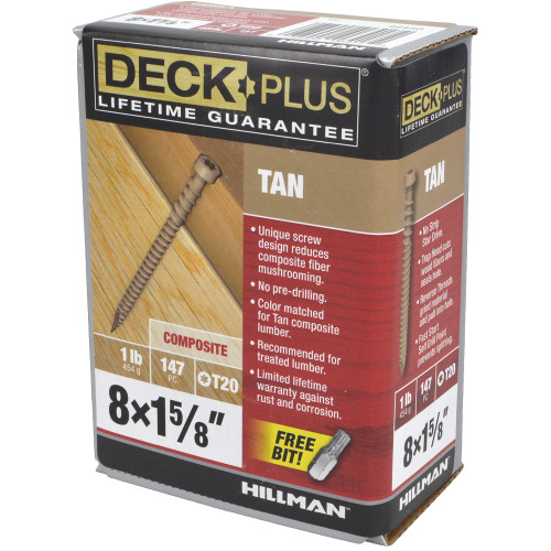 Tan Star-Drive Composite Deck Screw #8 x 1-5/8