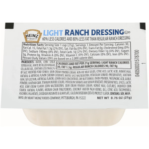 HEINZ Single Serve Light Ranch Dressing, 0.7 oz. Cups (Pack of 100) image