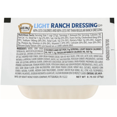 HEINZ Single Serve Light Ranch Dressing, 0.7 oz. Cups (Pack of 100)
