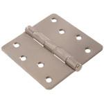 """Hardware Essentials 1/4"""" Round Corner Satin Nickel Door Hinges (4"""")"""