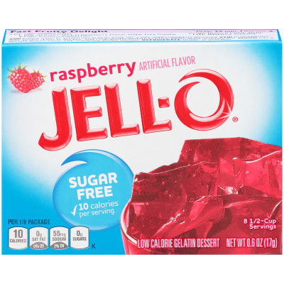 Jell-O Raspberry Sugar Free Gelatin Mix 0.6 oz Box