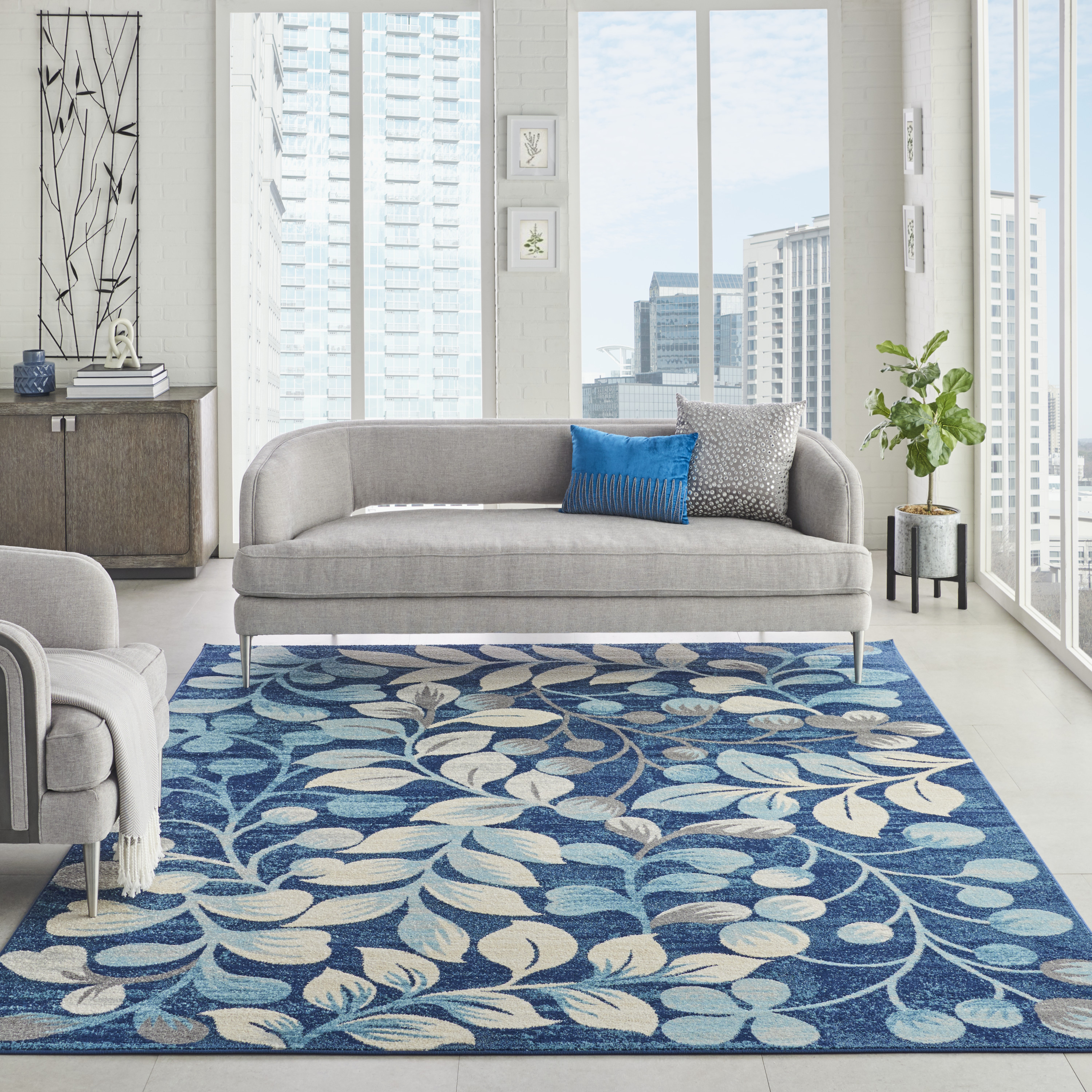 Nourison Tranquil TRA03 Navy Rug