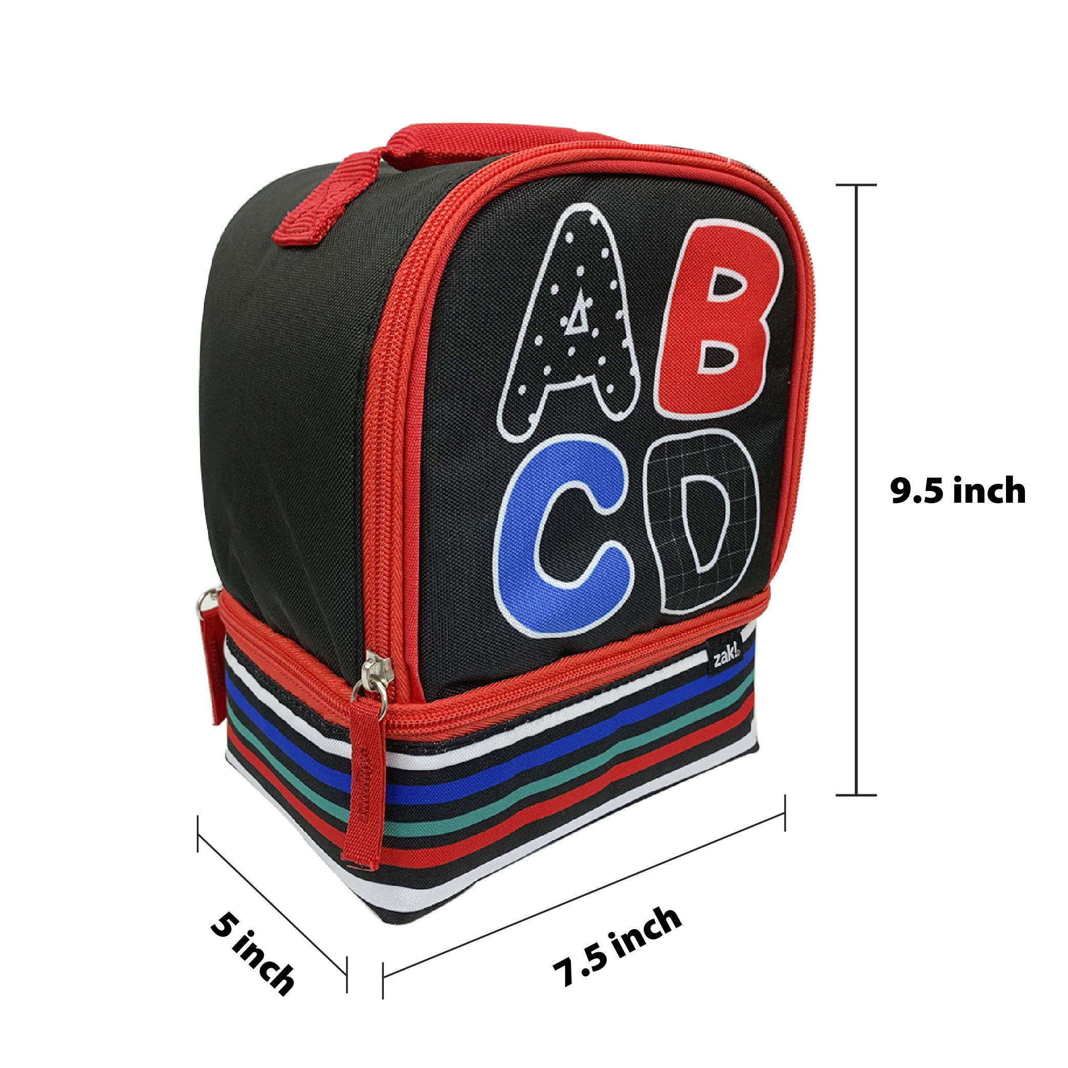 Grid Lock 2-compartment Reusable Insulated Lunch Bag, ABC slideshow image 4