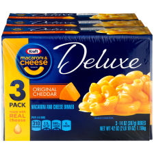 Kraft Deluxe Original Cheddar Macaroni & Cheese Dinner Dry 3 - 14 oz Boxes