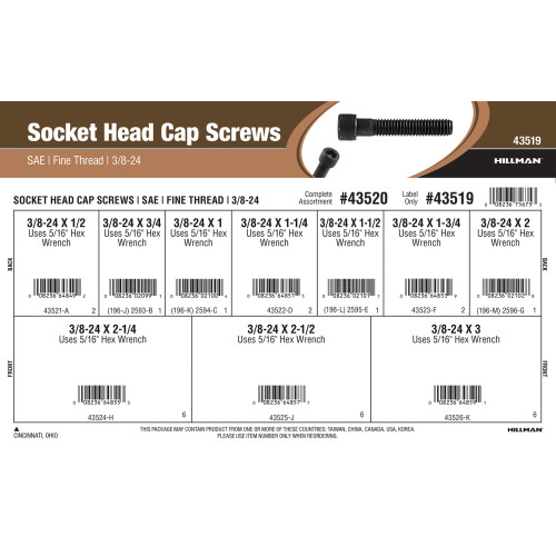 Socket-Head Cap Screws Assortment (3/8