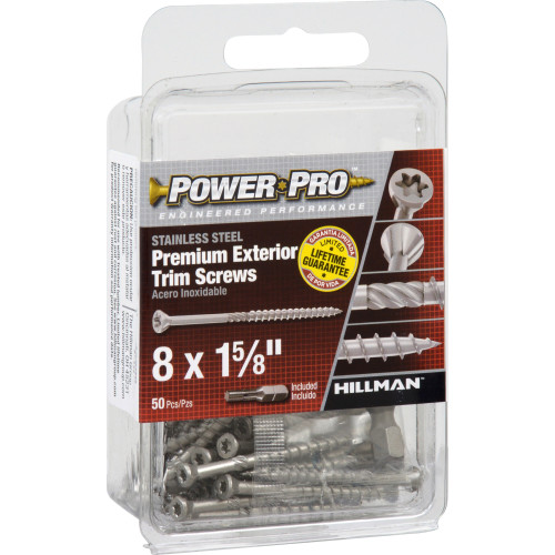 Power Pro Premium Exterior 305 Stainless Steel Trim Screws #8 x 1-5/8