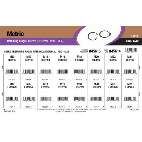 Metric Internal & External Retaining Rings Assortment (M10 thru M25 Diameter)