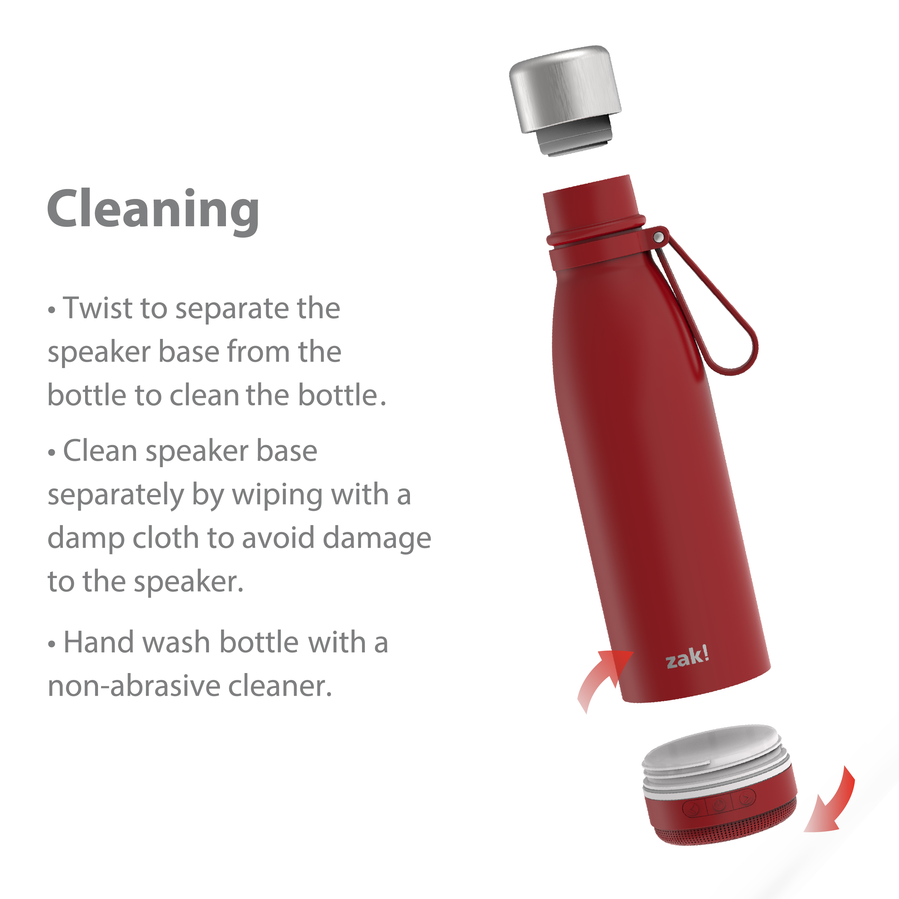 Zak Play 17.5 ounce Stainless Steel Tumbler with Bluetooth Speaker, Red slideshow image 4