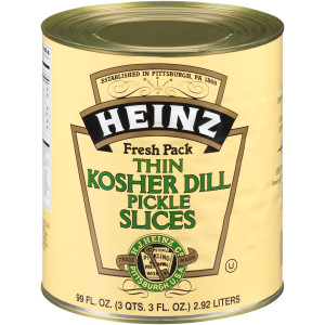 HEINZ Thin Kosher Dill Pickles #10 Can, 99 fl. oz. (Pack of 6) image