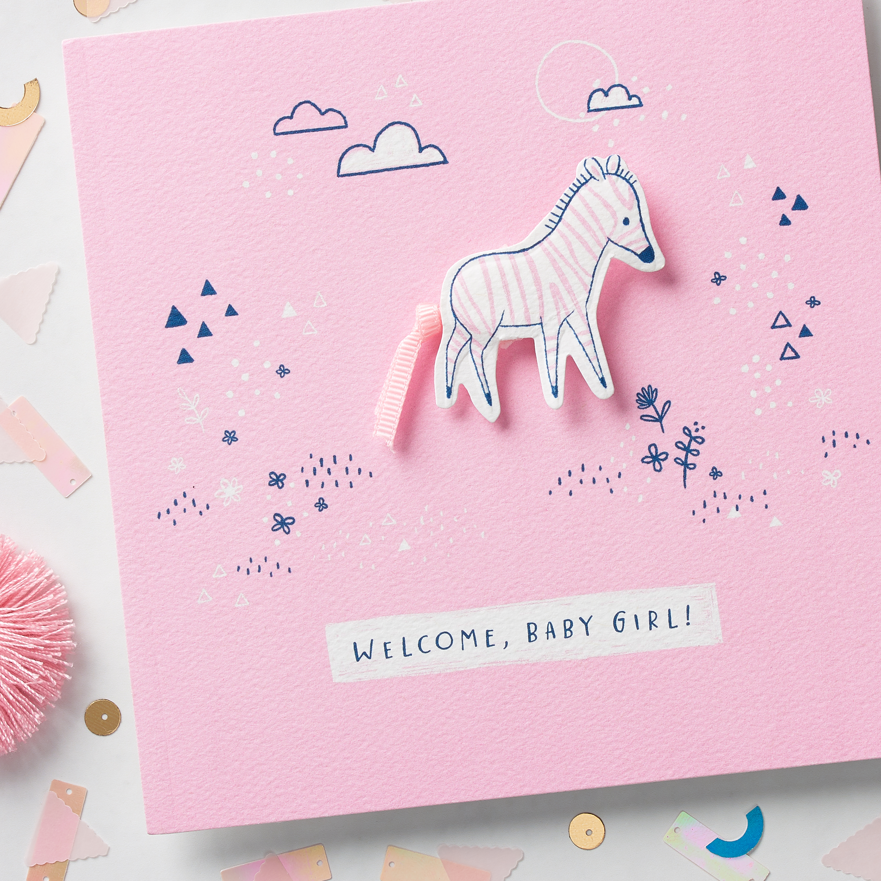 Zebra Baby Girl Congratulations Card image