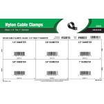 "Black Nylon Cable Clamps Assortment (1/4"" thru 1"" Diameter)"