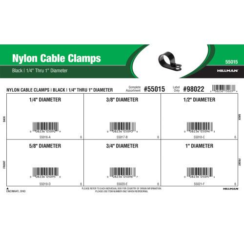 Black Nylon Cable Clamps Assortment (1/4