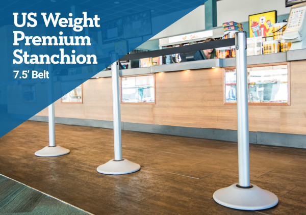 Premium Steel Stanchion - Silver with yellow belt 2