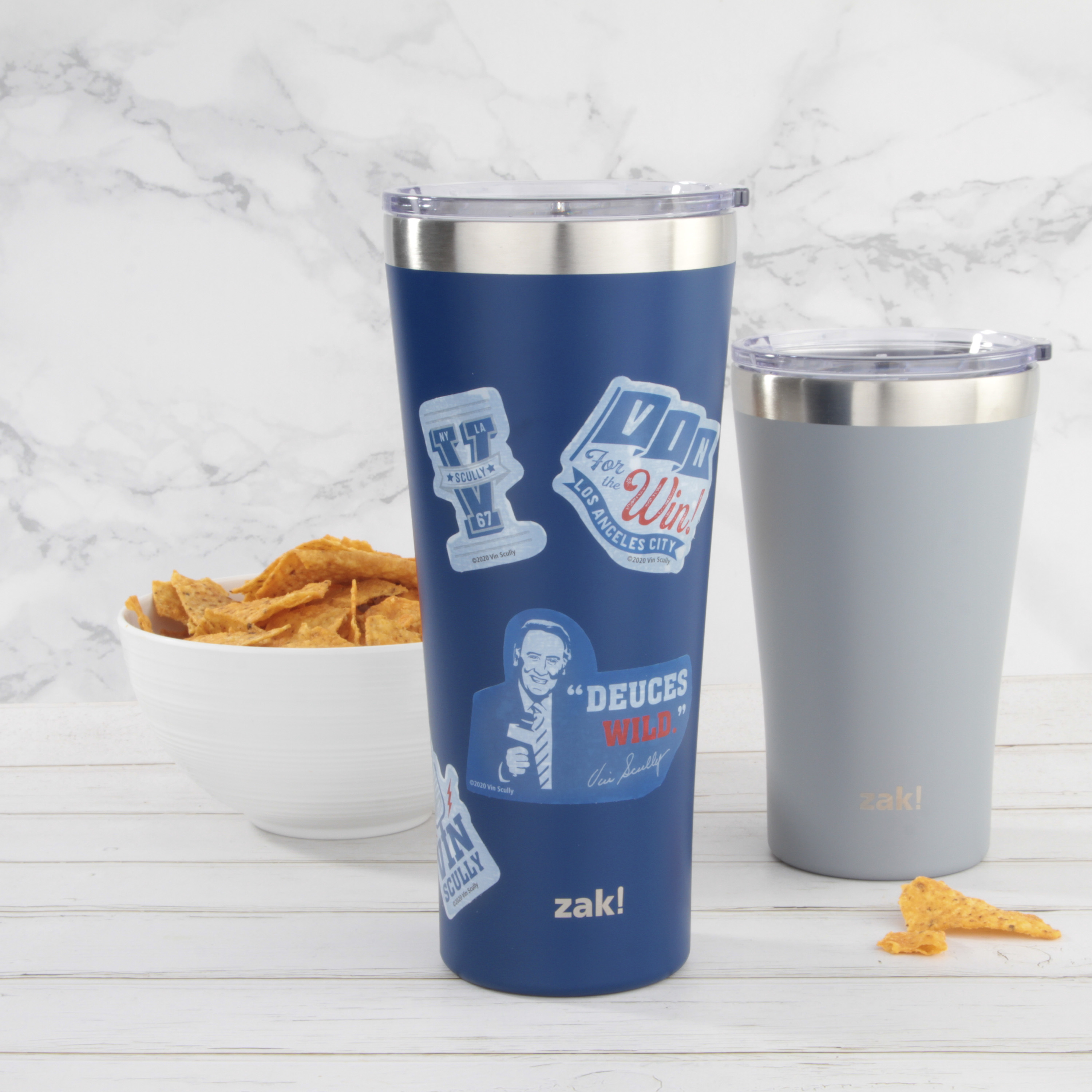 Zak Hydration 30 ounce Vacuum Insulated Stainless Steel Tumbler, Vin Scully, 2-piece set slideshow image 2