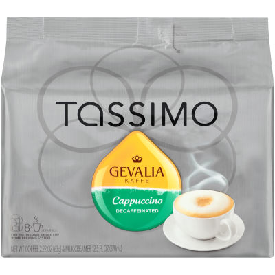 Gevalia Decaffeinated Cappuccino Ground Coffee T-Disc for Tassimo Brewing System, 16 count