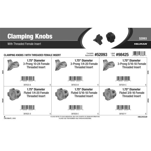 Clamping Knobs Assortment (with Threaded Female Insert)