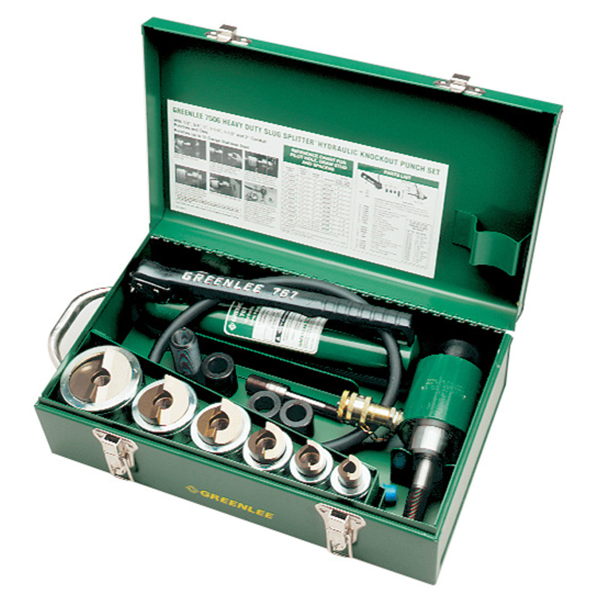 "Greenlee 7506 Slug-Splitter SC Knockout Punch Kit w/ Hydraulic Ram & Hand Pump, 1/2"" - 2"" Conduit"