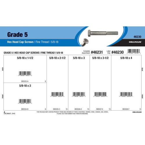 Grade 5 Hex Cap Screws Assortment (5/8