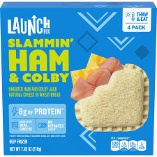 LaunchBox Slammin' Ham & Colby Jack Frozen Sandwiches, 4 ct Box