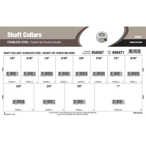 Stainless Steel Shaft Collars with Socket Set Screws Assortment