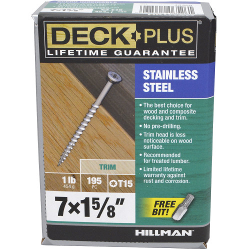 Deck Plus 305 Stainless Steel Trim Screw (#7 x 1-5/8