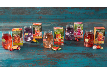 5 Mason Jar filled with Bigelow Botanical Cold Water Infusion with tea boxes